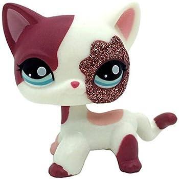 LPS-L Rare FiguresCuetrade Rare Mini Pet Toys #2291 Pink White Sparkle Glitter Short Hair Cat Animal Figure GiftCollie Great Dane Shorthair Dachshund Cocker Spaniel