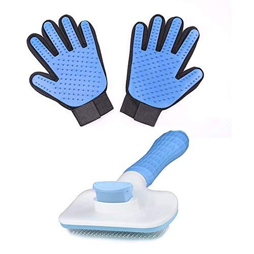 N、A Self Cleaning Slicker Brush & Deshedding Glove Value Kit - for Dogs, Goldendoodles Poodles Cats Gently Removes Loose Undercoat Mats Tangled Hair(Blue) (Blue)