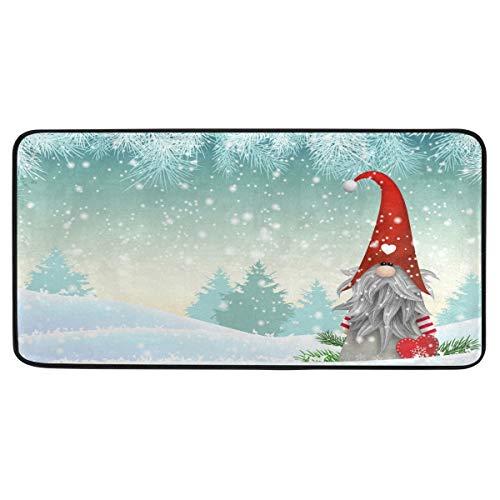 Anti Fatigue Kitchen Floor Mat, Non Slip Absorbent Comfort Standing Mat Soft Runner Rug for Hallway Entryway Bathroom Living Room Bedroom 39 x 20 in (White Christmas Gnome)