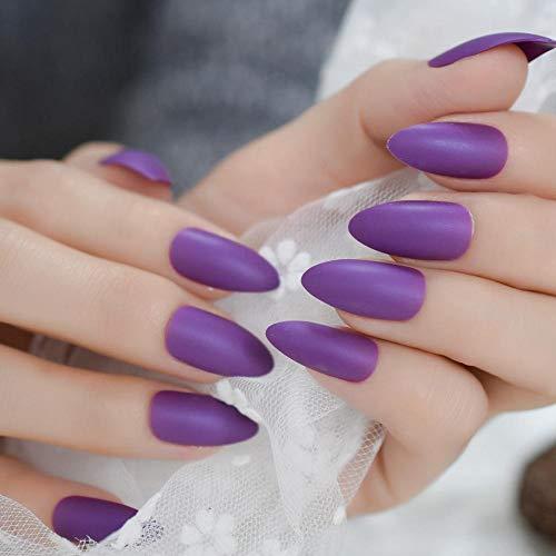 CLOAAE Matt False Nails Deep Lavender Purple Matte Sharp Full Coverage Nail Tips Adhesive With