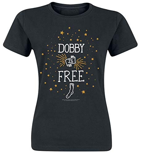 HARRY POTTER Dobby Is Free Donna T-Shirt Nero XL 100% Cotone Regular