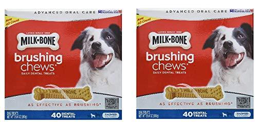 Milk-Bone Brushing Chews (Small/Medium) Value Pack of Two Boxes, Total of 80 Dental Treats 61.8 Oz