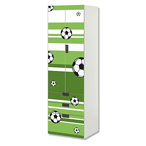 STIKKIPIX Fussball Möbelfolie | SC3K10 | passend für die Kinderzimmer Aufbewahrungskombination STUVA von IKEA | Klebe-Folie passgenau für Schrank und Kommode mit 3 Fächern | Möbel Nicht Inklusive