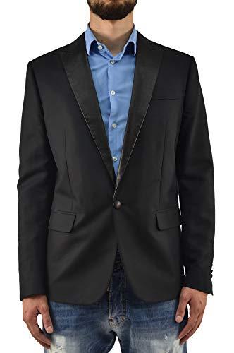 DSQUARED2 Giacca Elegante Uomo Nera Blazer Cotone Un Bottone Inserti Pelle Taglia IT52 (52 IT Uomo)