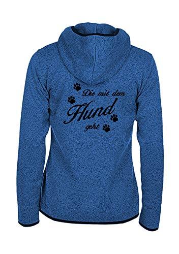 Damen Strick Fleece Jacke - Die mit dem Hund geht - Spruch bestickt, Größe:M, Farbe:Blau Meliert