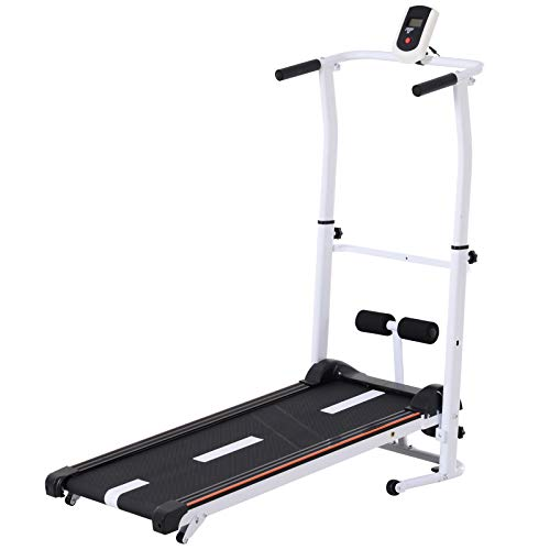 Soozier 2-in-1 Compact Manual Walking Treadmill & Sit-up Station Portable Folding Treadmill and Incline Cardio Fitness Exercise Machine Home Gym White