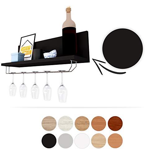 Epi-Tech Premium - Botellero con Soporte de Cristal, estantería para Vino Soduku, Placa laminada, Negro, 55x16,9x15cm