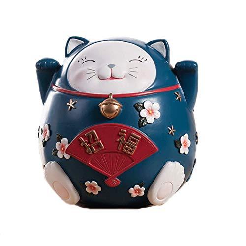 Regalo Piggy Bank Lucky Cat/Lucky Cat Hucha, Resina Hucha indecible/deseable Hucha, niños y Adultos Anti-caída Hucha Creatividad Dinero Banco (Tamaño: No Puedo Entrar, Pero Azul Marino) TINGG