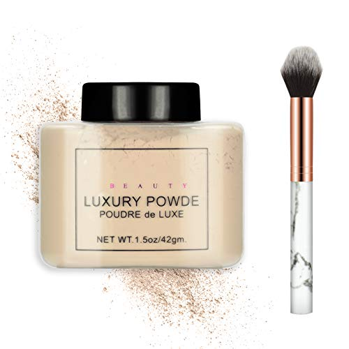 Ownest Loose Face Powder Set, Face Makeup Setting Powder Longlasting Smooth for Shine Silky Look,with A Brush-#Nude