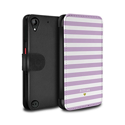 Stuff4 PU Leather Case/Cover/Wallet for HTC Desire 530/Custom Stripes/Striped Collection Bébé Coeur Rose