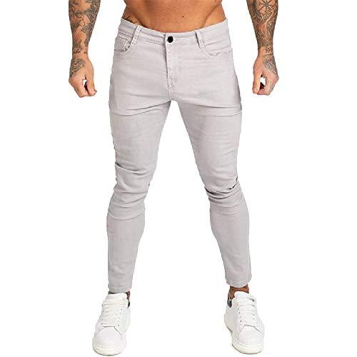 Hombres Estiramiento Flaco Sólido Jeans Casual Slim Fit Denim Pantalones Masculino Amarillo Rojo Gris Pantalones