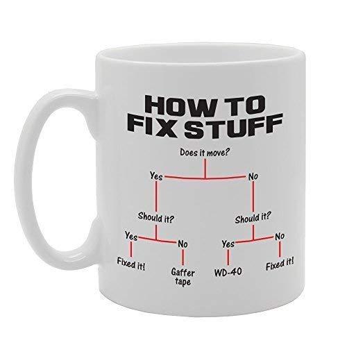 N\A So reparieren Sie Sachen Gaffer Klebeband WD40 Lustige Lösung Neuheit Geschenk gedruckt Tee Kaffee Keramikbecher