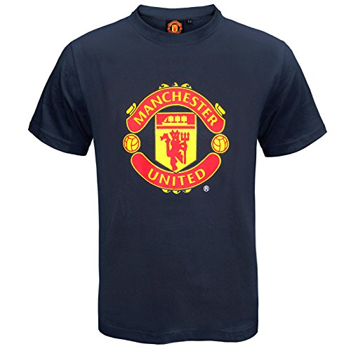 Manchester United Football Club Official Soccer Gift Kids T-Shirt Navy 6-7 Yrs