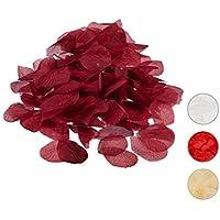 Relaxdays 500unidades de pétalos de rosa, artificial, romántico rosa confeti, Deco, boda, poliéster, Burdeos, 13 x 12.5 x 0.5 cm