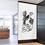 SelfAdhesiveforUVBlockingHeatControlGlassStickers, Movie Theater Cinematography Themed Artwork with Old Camera and E, Easy to Install and Reuse Glass Film 23.6