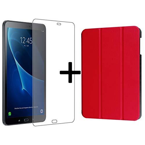 Lobwerk Juego de 3para Samsung Galaxy Tab a 10.1Pulgadas SM de T580t585Tablet con Carcasa + Tanque Cristal + Touch Pen con Auto Sleep/Wake móvil 3en 1 Rojo Rojo
