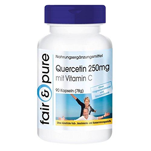 Quercetina 250mg con Vitamina C - Vegana - Alta pureza - 90 Cápsulas