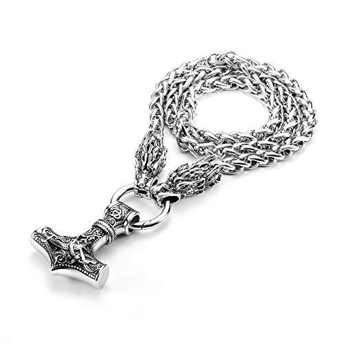 YADOCA Vikingos Collar para Hombre Mjolnir Collar con Colgante Martillo de Thor Acero Inoxidable Collar Colgante Vikingo Nórdico