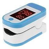 Pulsossimetro da dito Pulsossimetro, portatile LED display saturazione di ossigeno nel sangue monitor con borsa per il trasporto per bambini e adulti Taglia libera Blue