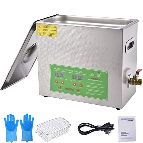 Minocool Ultrasonic Cleaner 6L Sonic Cleaner, 180W Adjustable Ultrasonic Parts Cleaner Machine with Digital LCD Control, Water Faucet & Lid for Jewelry Glasses Watch Dentures etc.