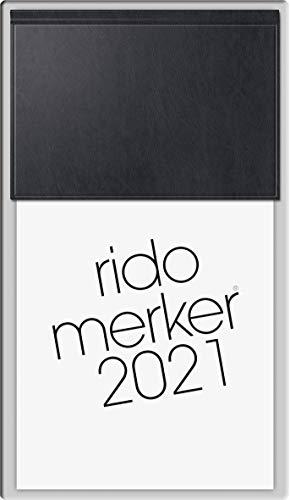 rido/idé 7035003901 Tischkalender Merker, 1 Seite = 1 Tag, 108 x 201 mm, Miradur-Einband schwarz, Kalendarium 2021