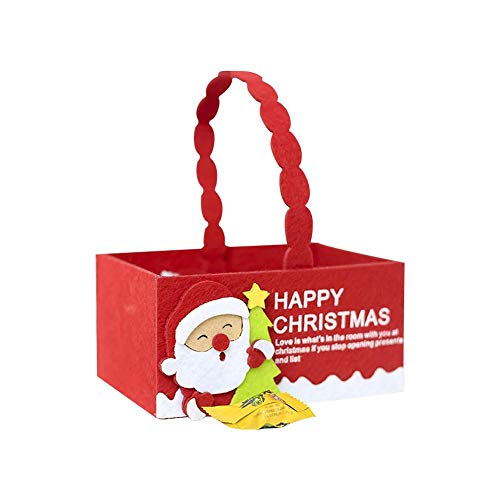 KiGoing Caramelle Cesto In Feltro Di Natale, Mini Contenitore Portatile Riutilizzabile Candy Tote Con Maniglia Snowman, Babbo Natale, Cervo-Rosso