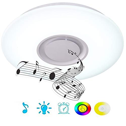 Upgrade 36W LED Ceiling Lights with Bluetooth Speaker Smartphone APP, Dimmable 19.7-inch Music RGBW Color Temperature Adjustable, 80W Fluorescent Equivalent, Round Flush Mount Light Fixture