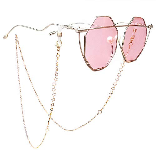 TERAISE Eyeglass Chain for Women/Ladies Retro Fashion Metal Carved Sunglasses Cords Strap Adjustable with Clean Cloth(Gold)