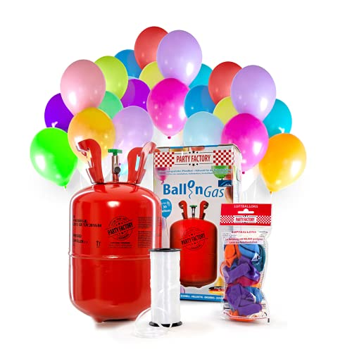 Party Factory Helium Ballongas für 30 Luftballons inkl. 30 Ballons Ballons
