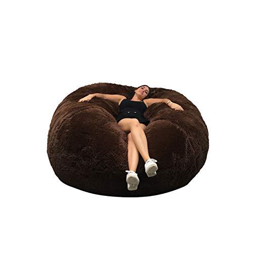 Beanbag Pouf Gigante Immense, 140 cm di Diametro, Pelliccia XXL, Bianco o Grigio o Cioccolato, con Schiuma Triturata, Ultra Confortevole, Divano, Doppia Fodera, Pera, Cuscino
