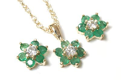 Orecchini e Ciondolo im Set 9CT Oro Smeraldo