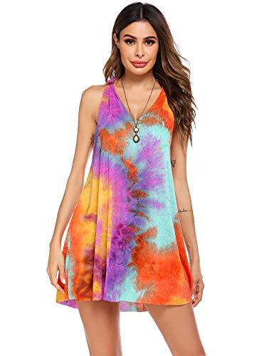 Hotouch Women's Summer Sundress Tie-dye Casual Tank T Shirt Dress Swimsuit Cover Up L