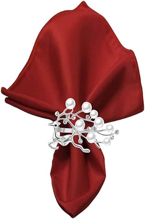 Superior TJLSS 6 Pcs Elegant Napkin Charlotte Mall Rhinestone Pearls Buckles with Rings
