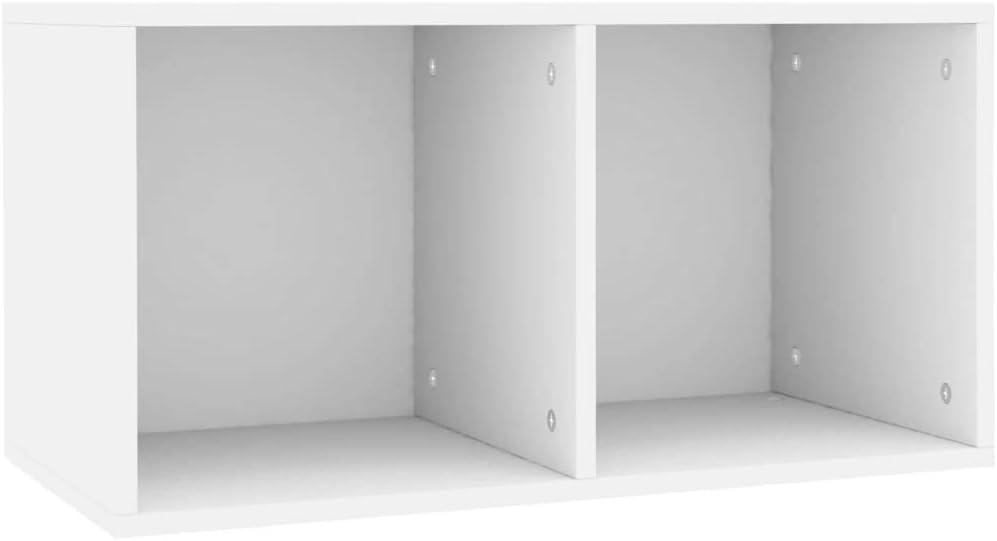 vidaXL Caja para Discos de Vinilo Aglomerado Blanca 71x34x36cm Mobiliario CDs Accesorios Organización Música Colección Hobbies Diseño Elegante Clásico