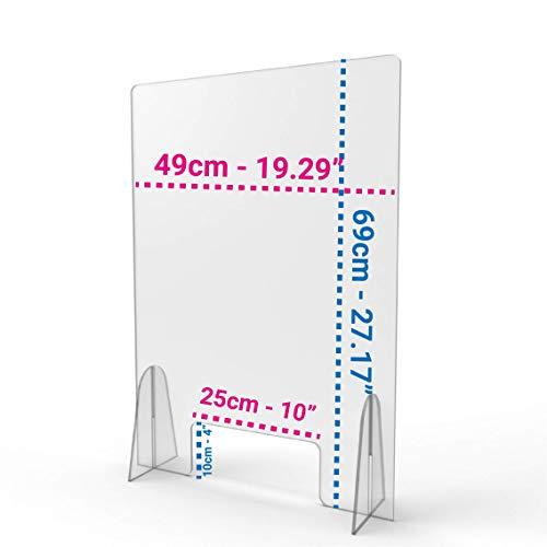 Barriera Parafiato in Plexiglass 5mm   Pannello parasputi   schermo protettivo per negozi uffici tabaccai farmacie (50 x 70 cm)