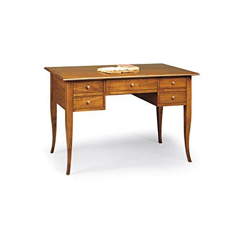 Giò Luxury Scrivania, Stile Classico, In Legno Massello E Mdf Con Rifinitura In Noce Lucido - Mis. 150 X 65 X 81