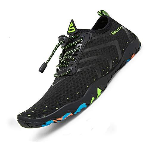 Zapatos acuáticos para hombre y mujer, secado rápido, zapatos de playa, exterior e interior, zapatos de deporte, senderismo, escalada, escalada, escalada, barefoot Shoes, Negro (927noirvert), 40 EU