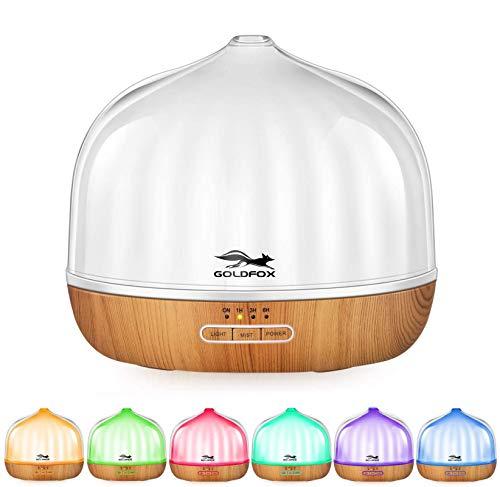 Aroma Diffuser 500ml Ultraschall Luftbefeuchter Doppelschalen Lichtdurchlässigkeit Diffusor BPA-Free Aromatherapie Humidifier ätherische öle Befeuchter für Kinderzimmer Schlafzimmer Raum Büro Yoga Spa