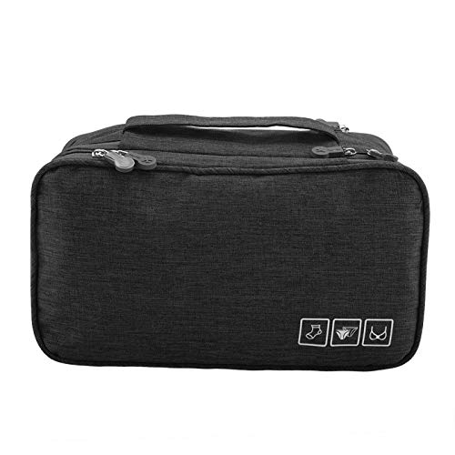 Gonnely Bolsa de Almacenamiento de Viaje Organizador de Almacenamiento de Viaje portátil Ropa Interior Impermeable Sujetador Calcetines Bolsa Estuche USB(Negro)