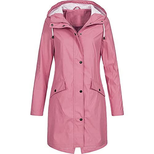 SHOPESSA Winter Coats for Women Mid Length Waterproof Jacket Outdoor Sports Drawstring Button Down Windbreaker Raincoat Pink