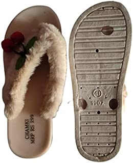 Kuldeep Online Work Chamki Women's Comfortable Sandal Cream [Size - 7]