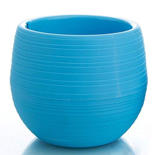 PENVEAT - Mini vasi rotondi in plastica, per piante, per giardino, casa, ufficio, decorazione per paesaggi, alta qualità, colore: blu