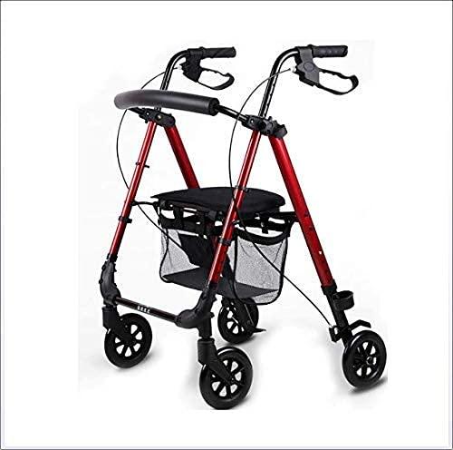 Bastidor para caminar plegable con asiento acolchado Carro de compras para ancianos ajustable en altura Carro de ocio