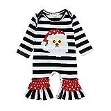 Mono de Navidad a Rayas para bebés niñas niños Cute Animal Print Trajes de Invierno Ropa Negro 70