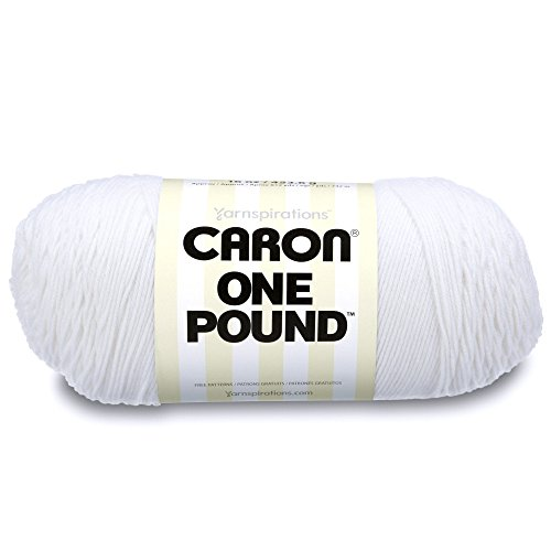 Caron 29401010501 One Pound Solids Yarn - (4) Medium Gauge 100% Acrylic - 16 Oz -  White -   For Crochet, Knitting & Crafting  ( 1 Piece )