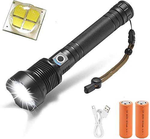 Torcia LED Alta Potenza 90000 lumen, Windfire LED Torcia XHP70 Ricaricabile USB con Zoom 3 Modalità di illuminazione per Campeggio, Sport All'aperto [Classe di efficienza energetica A]
