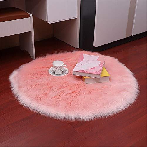 WBDYMX Modern vardagsrum mjuk matta, imitation ull hud rund tvättbar halkfri tjocklek 5–6 cm...