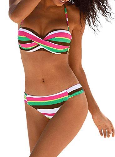 Aleumdr Sexy traje de baño de mujer Tie Dye traje de baño de dos piezas Bandeau conjunto bikini mujer push-up D-Verde XXL