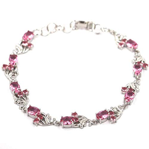 HJPAM Fantastische roze toermalijn armband temperament eenvoudige zilveren armband dames partij vriendschap fijne sieraden