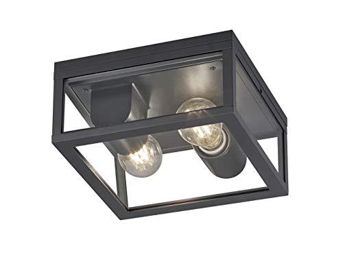 2-flammige eckige LED Außendeckenleuchte in Anthrazit - vielseitige Außenbeleuchtung für Haus und Terrasse